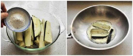 trộn cà tím với bột