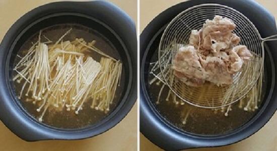 cho nấm và thịt vào nồi