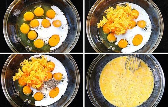 trộn trứng với sữa, pho mát