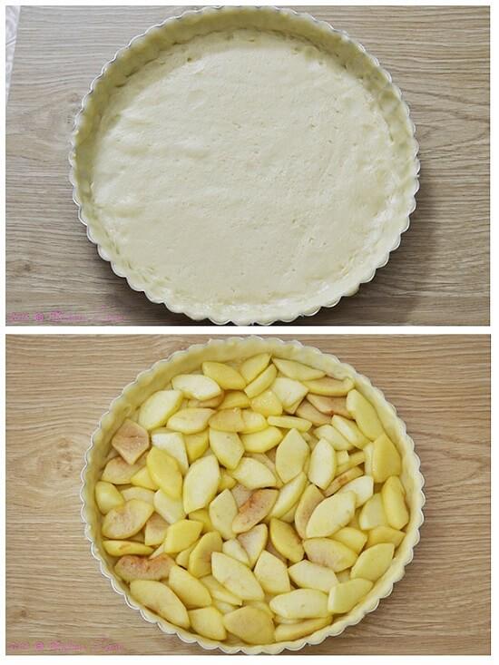 cho táo vào khuôn bánh