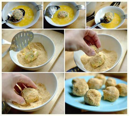 Viên chả cá qua trứng và bột xù để làm món chả cá chiên giòn