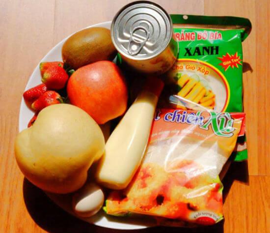 Nguyên liệu làm nem chay hoa quả