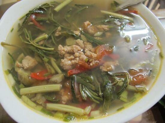 , Cách nấu canh sấu thịt băm rau rút chua mát đưa cơm