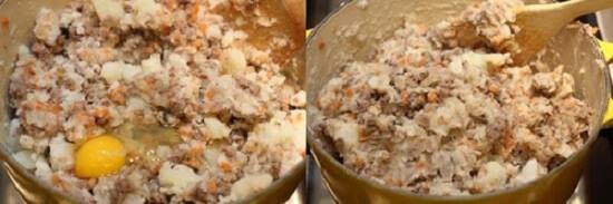 trộn hỗn hợp thịt bò với khoai tây, trứng