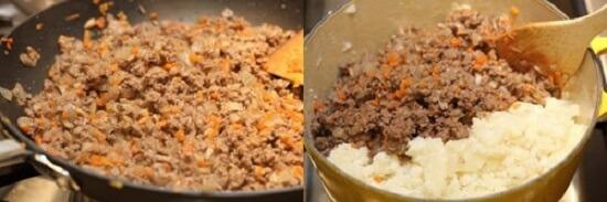 trộn khoai tây với hỗn hợp thịt bò