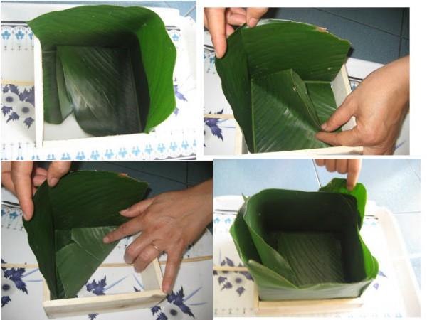 Cách gói bánh chưng xanh - xếp lần lá dong vào 4 cạnh khuôn gói bánh chưng