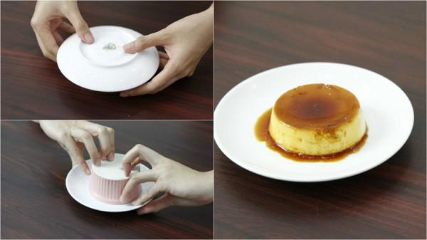 Úp bánh ra đĩa và thưởng thức kèm với cà phê, nước cốt dừa - cách làm kem flan ngon
