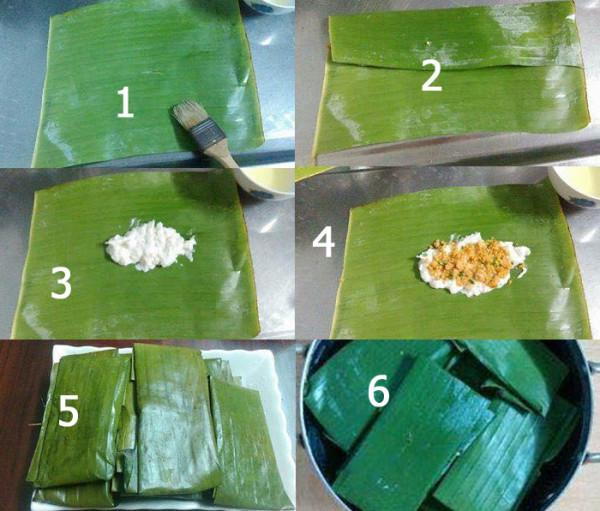 Thực hiện gói và hấp bánh nậm - cách làm bánh nậm huế
