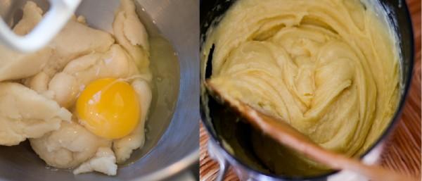 Cách làm su kem - cho trứng vào đánh đều với hỗn hợp bột mì và sữa