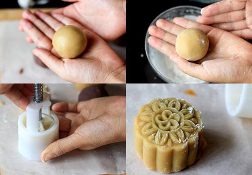 Cách làm bánh trung thu nhân đậu xanh - Cho bánh vào khuôn làm bánh trung thu